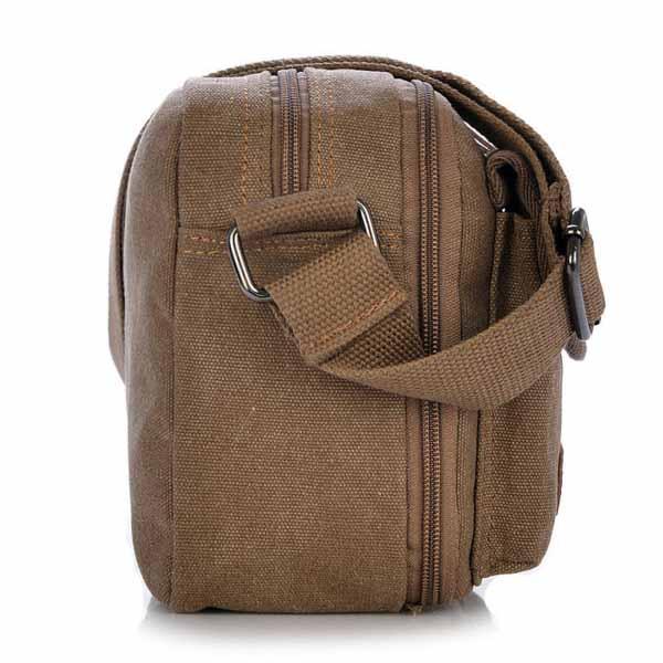 กระเป๋าสะพายผ้าใบเล็ก แฟชั่นเกาหลีใช้ได้ทั้งผู้ชายผู้หญิงมีช่องเยอะมากสวยเบา นำเข้า สีกาแฟ - พร้อมส่งIS1028 ราคา950บาท