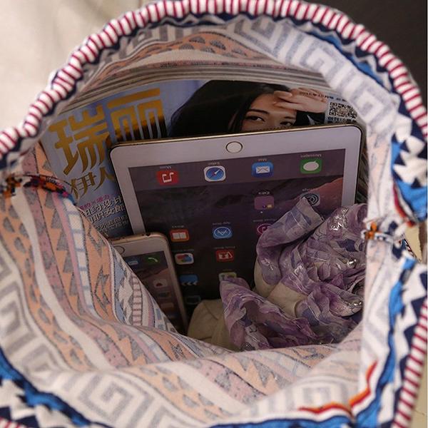 กระเป๋าเป้ผ้า ย่ามสะพายหลังหูรูดแฟชั่นเกาหลีน่ารักแบบผู้หญิงลายกราฟิก นำเข้า - พร้อมส่งIS1056 ราคา350บาท