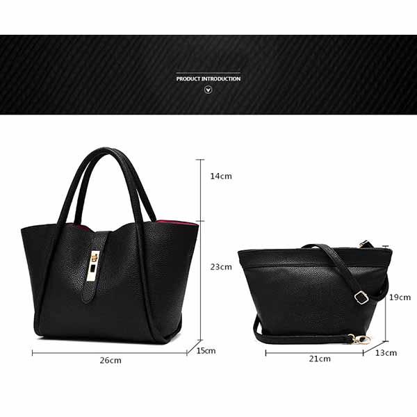 กระเป๋าหนังทำงาน 2ชิ้นดีไซน์แบรนด์ทั้งสะพายและถือเรียบหรูแฟชั่น นำเข้า สีดำ - พรีออเดอร์IS1066 ราคา1400บาท