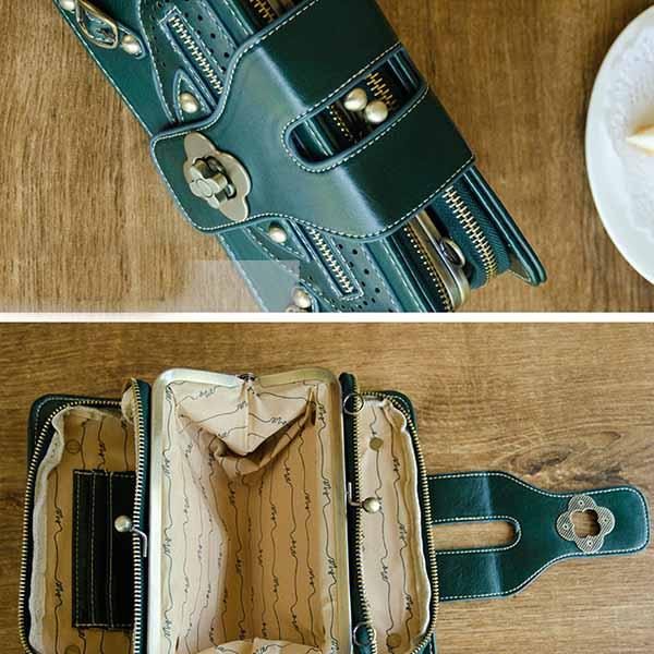 กระเป๋าหนังใบเล็กแฟชั่นเกาหลี ถือได้แบบวินเทจคลัทช์และมีสายสะพายยาว นำเข้า สีดำ - พรีออเดอร์IS1072 ราคา1350บาท