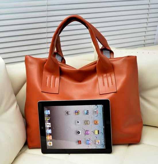 กระเป๋าสะพายข้างผู้หญิง สวยแนววินเทจแฟชั่นใบใหญ่ นำเข้า สีน้ำตาล - พร้อมส่ง