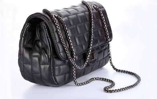 กระเป๋าสะพาย แฟชั่นเกาหลีสไตล์แบรนด์สายโซ่หนังสวยนำเข้า สีดำ - พร้อมส่ง