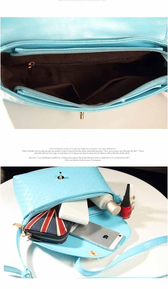 กระเป๋าสะพายข้าง แฟชั่นเกาหลีสไตล์หนังลายสานมีซิปปิด นำเข้า - พรีออเดอร์IS983