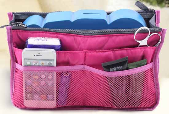 กระเป๋าจัดระเบียบ ช่องเยอะถือได้สไตล์แฟชั่นเกาหลีรุ่นใหม่ นำเข้า สีชมพู - พร้อมส่งIS997 ราคา350บาท