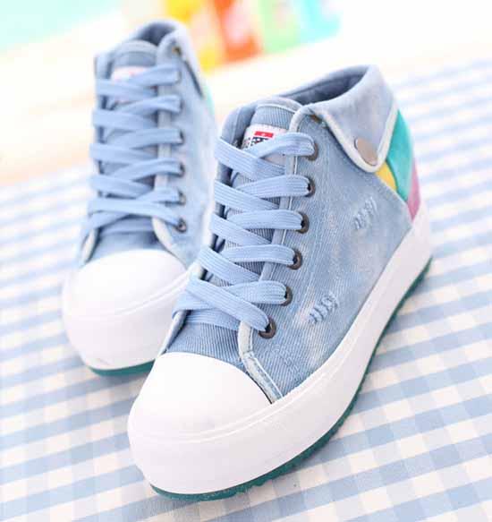 รองเท้าผ้าใบ แฟชั่นเกาหลีสไตล์เท่ส้นหนา นำเข้า ไซส์35ถึง39