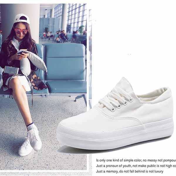 รองเท้าผ้าใบ แฟชั่นเกาหลีส้นตึกลำลองใหม่ นำเข้า ไซส์35ถึง39 สีดำ - พรีออเดอร์MA3016 ราคา1250บาท