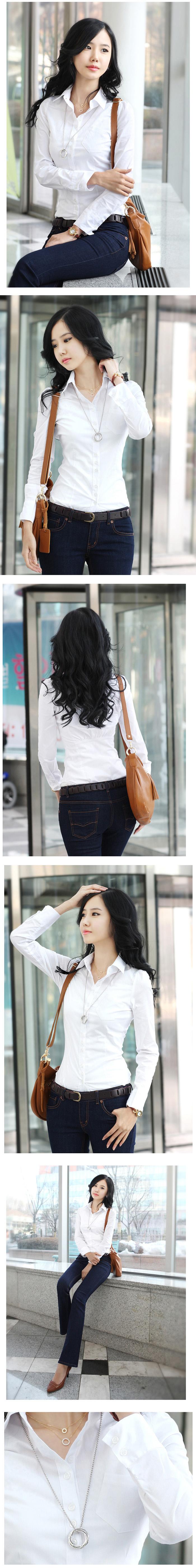 เสื้อเชิ้ต ทำงาน แฟชั่นเกาหลี ใหม่สวยแขนยาวฟอร์มพนักงาน นำเข้า ไซส์S/M/L/XL พรีออเดอร์MI505 ราคา920บาท