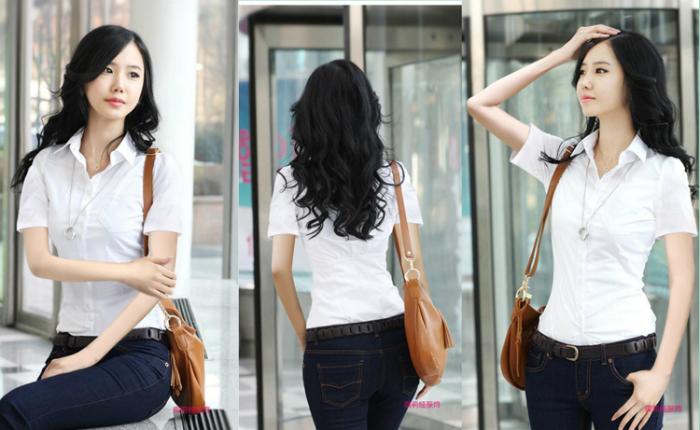 เสื้อเชิ้ตทำงานแขนสั้นชุดฟอร์มพนักงานบริษัทราคาส่ง นำเข้า ไซส์Sถึง2XL สีขาว - พรีออเดอร์MI505 ราคา 550 บาท