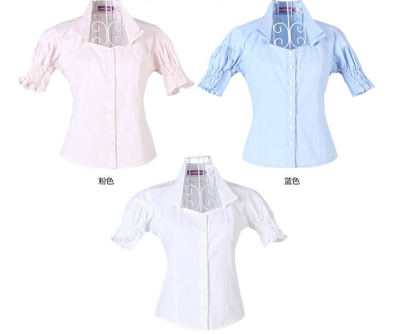 เสื้อเชิ้ต ทำงาน แฟชั่นเกาหลี ใหม่สวยแขนสั้นฟอร์มพนักงาน นำเข้า ไซส์S/M/L/XL พรีออเดอร์MI554 ราคา856บาท