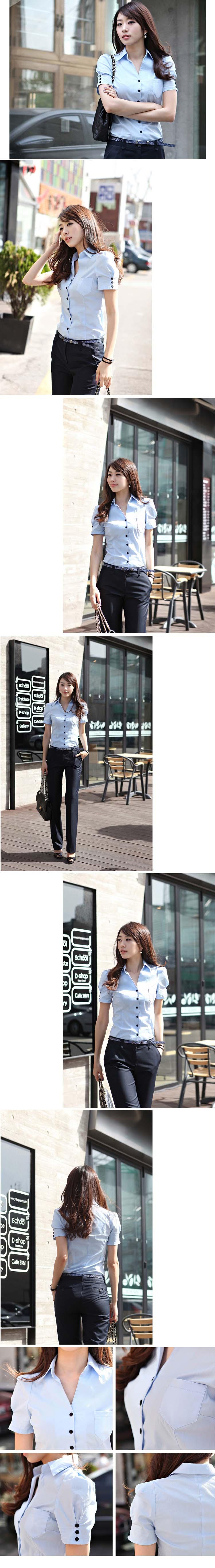 เสื้อเชิ้ต ทำงาน แฟชั่นเกาหลี ใหม่สวยแขนสั้นฟอร์มพนักงาน นำเข้า ไซส์S/M/L/XL พรีออเดอร์MI554 ราคา870บาท
