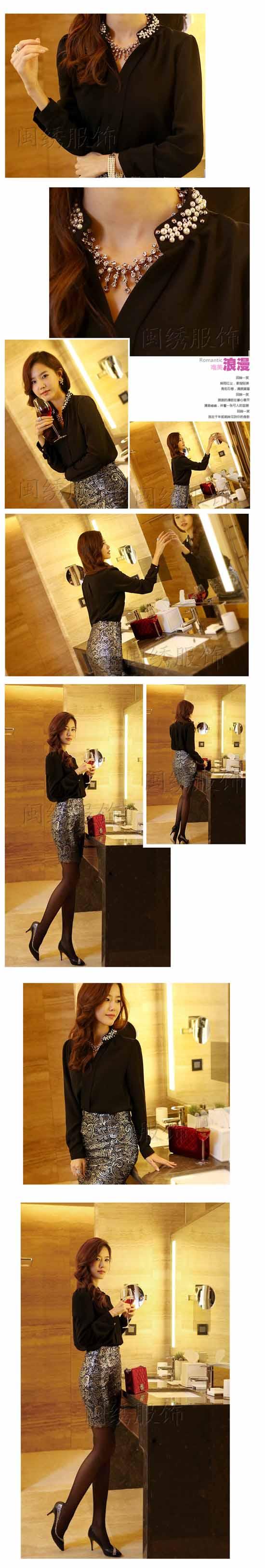 เสื้อเชิ้ต ทำงาน แฟชั่นเกาหลี ใหม่สวยปกแต่งมุกหรู นำเข้า ไซส์S/M/L/XL/XXL พรีออเดอร์MI597 ราคา1150บาท