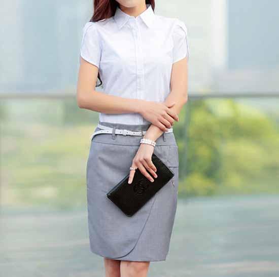 เสื้อเชิ้ตทำงาน แฟชั่นเกาหลี ฟอร์มพนักงานหรูหรา นำเข้า ไซส์S-3XL - พรีออเดอร์MI602