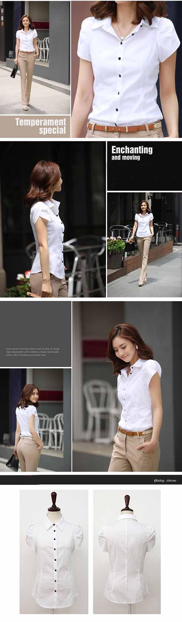 เสื้อเชิ้ตทำงานแขนสั้นกลีบบัวชุดฟอร์มพนักงานบริษัทราคาส่ง นำเข้า ไซส์Sถึง5XL สีขาว - พรีออเดอร์MI612 ราคา 550 บาท