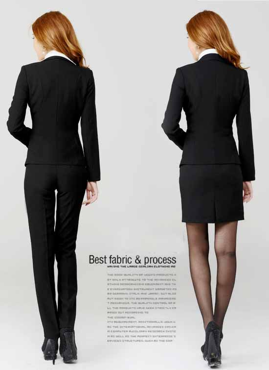 ชุดสูทกางเกง แฟชั่นเกาหลียูนิฟอร์มสูท+กางเกง+เชิ้ต สีดำ - พรีออเดอร์MS4001