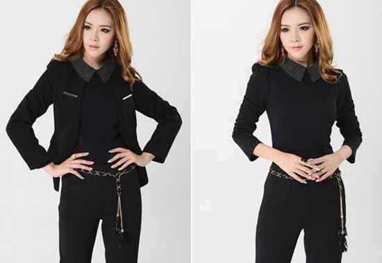ชุดสูทกางเกง แฟชั่นเกาหลียูนิฟอร์มสูท+กางเกง+เชิ้ต นำเข้าไซส์Sถึง3XLสีดำ