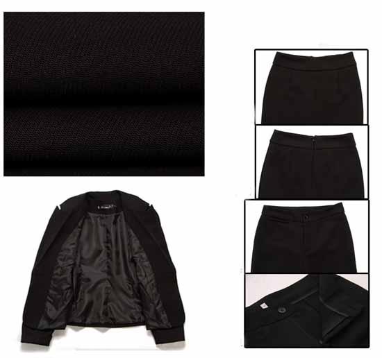 ชุดสูทกระโปรง แฟชั่นเกาหลีเสื้อสูท+กระโปรง Uniform นำเข้าไซส์Sถึง3XLสีดำ