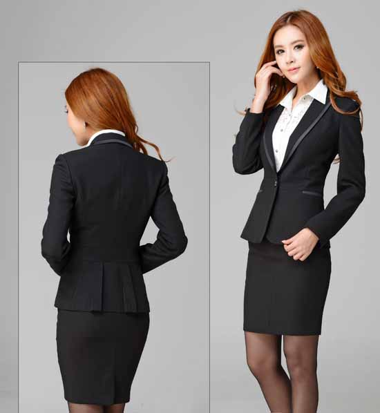 ชุดสูทกระโปรง แฟชั่นเกาหลีเสื้อสูท+กระโปรงชุดสวยใหม่ นำเข้าไซส์Sถึง3XLสีดำ