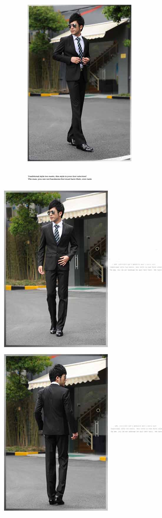 ชุดสูทผู้ชาย เป็นเสื้อสูทพร้อมกางเกงแฟชั่น นำเข้า ไซส์S-2XL สีดำ