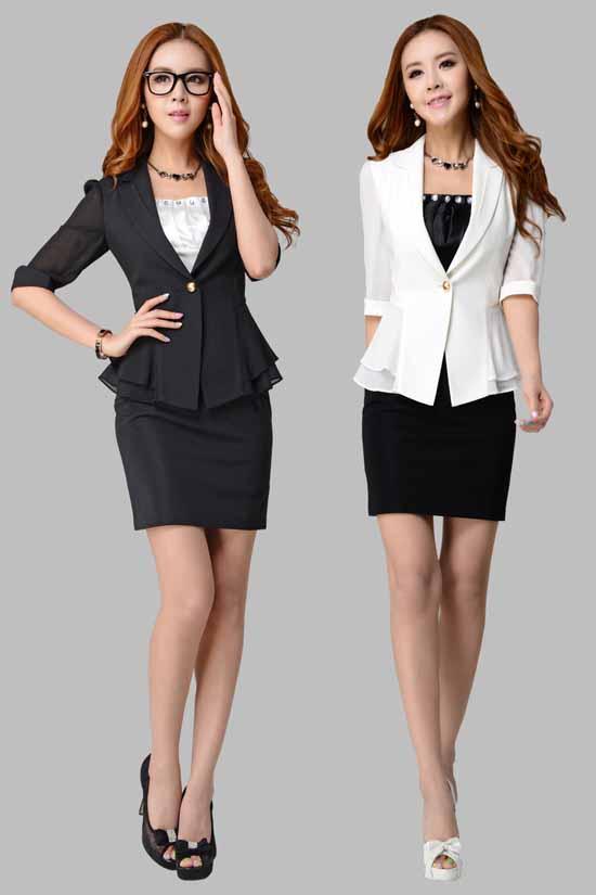เสื้อสูท แฟชั่นเกาหลีระบายชีฟองช่วงเอวสวยหรู นำเข้าไซส์Sถึง3XL สีดำ