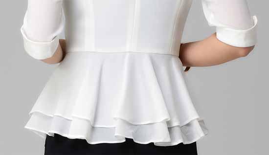 เสื้อสูท แฟชั่นเกาหลีระบายชีฟองช่วงเอวสวยหรู นำเข้าไซส์Sถึง3XL