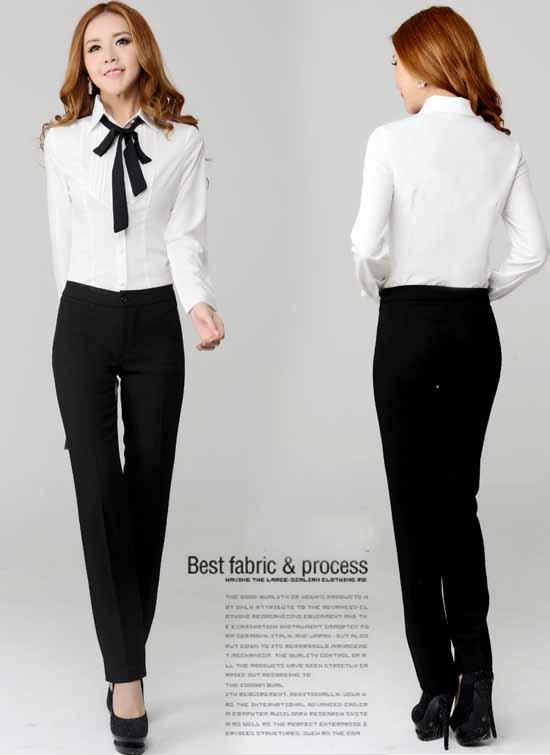 เสื้อเชิ้ต แฟชั่นเกาหลีแขนยาวตีเกล็ดสวยใหม่ นำเข้าไซส์Sถึง3XL สีขาว