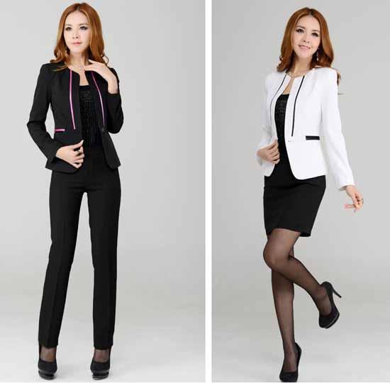 ชุดสูทกระโปรง แฟชั่นเกาหลีเสื้อสูท+กางเกง นำเข้าไซส์Sถึง3XLสีขาว