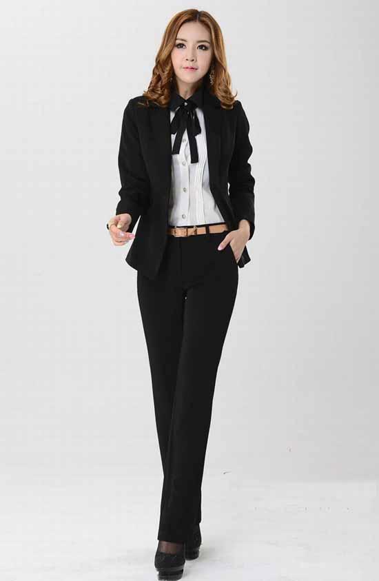 ชุดสูทกางเกง แฟชั่นเกาหลีเสื้อสูท+กางเกง นำเข้าไซส์Sถึง3XLสีดำ