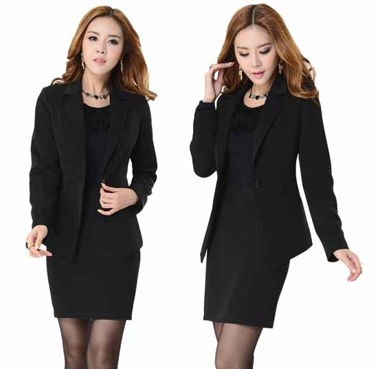 ชุดสูทกระโปรง แฟชั่นเกาหลีเสื้อสูท+กระโปรง นำเข้าไซส์Sถึง3XLสีดำ
