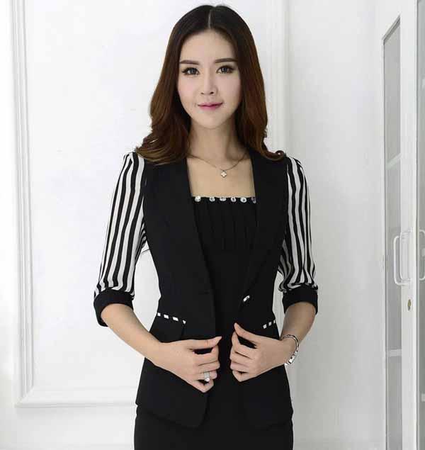 เสื้อสูทผู้หญิง แฟชั่นเกาหลีแขนลายทาง3ส่วนหรูมาก นำเข้าไซส์Sถึง3XL พรีออเดอร์MS4037 ราคา1730บาท