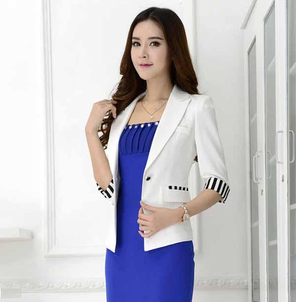 เสื้อสูทผู้หญิง แฟชั่นเกาหลีแขน3ส่วนอินเทรนด์ นำเข้าไซส์Sถึง3XL พรีออเดอร์MS4040 ราคา1730บาท