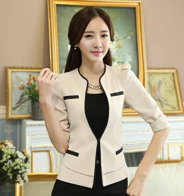เสื้อสูทผู้หญิง แฟชั่นเกาหลีสวมทำงานไหล่จับจีบสวยหรูใหม่ นำเข้าไซส์Sถึง4XL สีเบจ - พรีออเดอร์MS4249 ราคา1850บาท