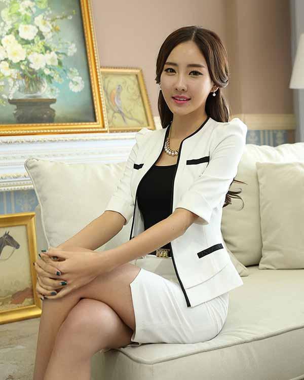 เสื้อสูทผู้หญิง แฟชั่นเกาหลีสวมทำงานไหล่จับจีบสวยหรูใหม่ นำเข้าไซส์Sถึง4XL สีขาว - พรีออเดอร์MS4249 ราคา1850บาท