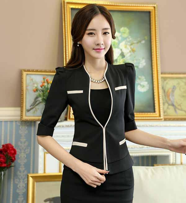 เสื้อสูทผู้หญิง แฟชั่นเกาหลีสวมทำงานไหล่จับจีบสวยหรูใหม่ นำเข้าไซส์Sถึง4XL สีดำ - พรีออเดอร์MS4249 ราคา1850บาท