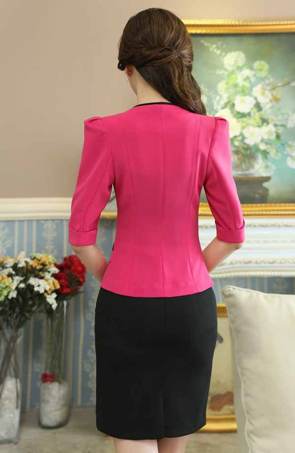 เสื้อสูทผู้หญิง แฟชั่นเกาหลีสวมทำงานไหล่จับจีบสวยหรูใหม่ นำเข้าไซส์Sถึง4XL สีชมพู - พรีออเดอร์MS4249 ราคา1850บาท