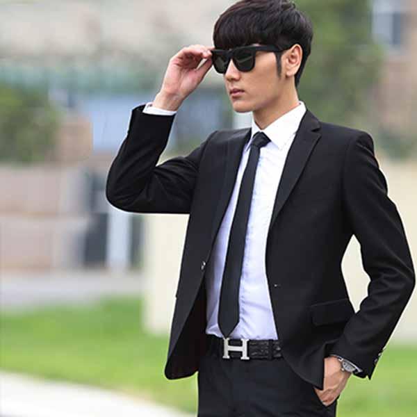 เสื้อสูทผู้ชาย แฟชั่นเกาหลีกระดุม1เม็ดใส่ทำงานออกงานแต่งงาน นำเข้า Mถึง3XL สีดำ - พรีออเดอร์MS4253  ราคา1995บาท