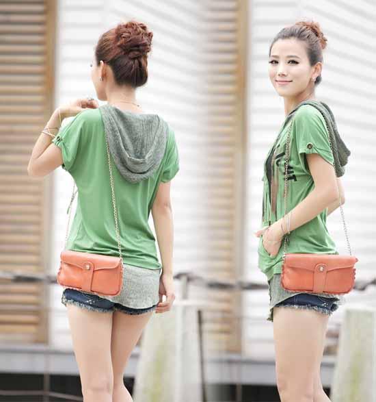 เสื้อยืด แฟชั่นเกาหลีมีฮู้ดสวยมากใส่สบาย นำเข้า สีเขียว - พร้อมส่งTX2232