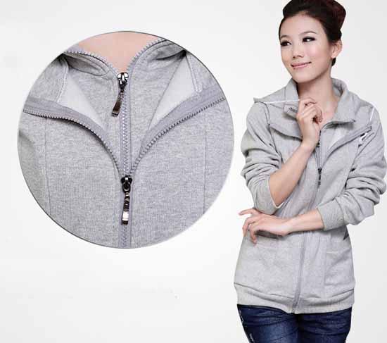 เสื้อกันหนาว ซิปหน้าแฟชั่นเกาหลีผ้าหนาอุ่นมาก นำเข้า ฟรีไซส์ สีเทา - พร้อมส่งTX5042