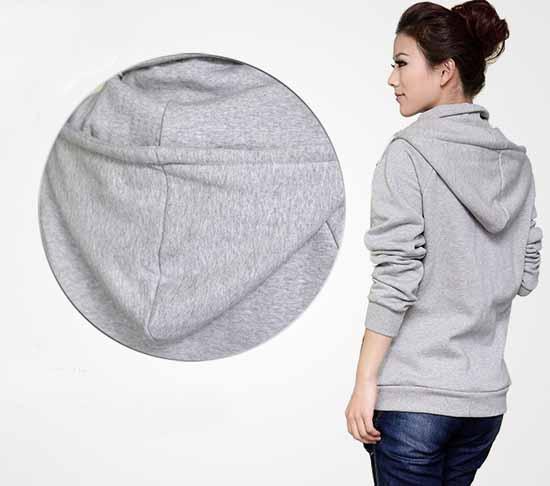 เสื้อกันหนาว ซิปหน้าแฟชั่นเกาหลีผ้าหนาอุ่นมาก นำเข้า ฟรีไซส์ สีเทา - พร้อมส่ง