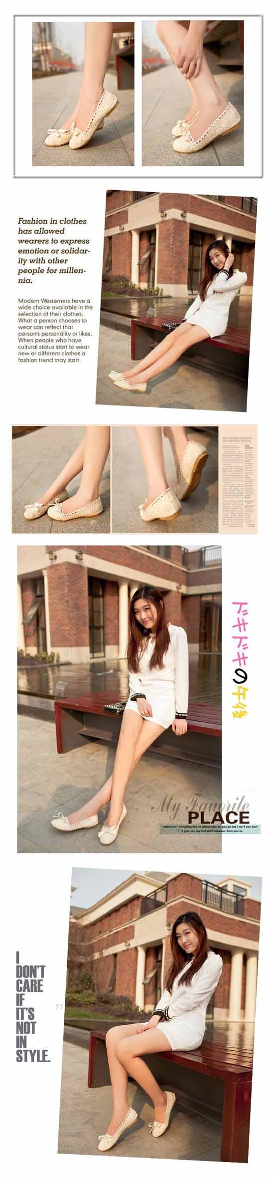 รองเท้าส้นเตี้ย แฟชั่นเกาหลีดีไซน์คัทชูลูกไม้ นำเข้า ไซส์34ถึง43