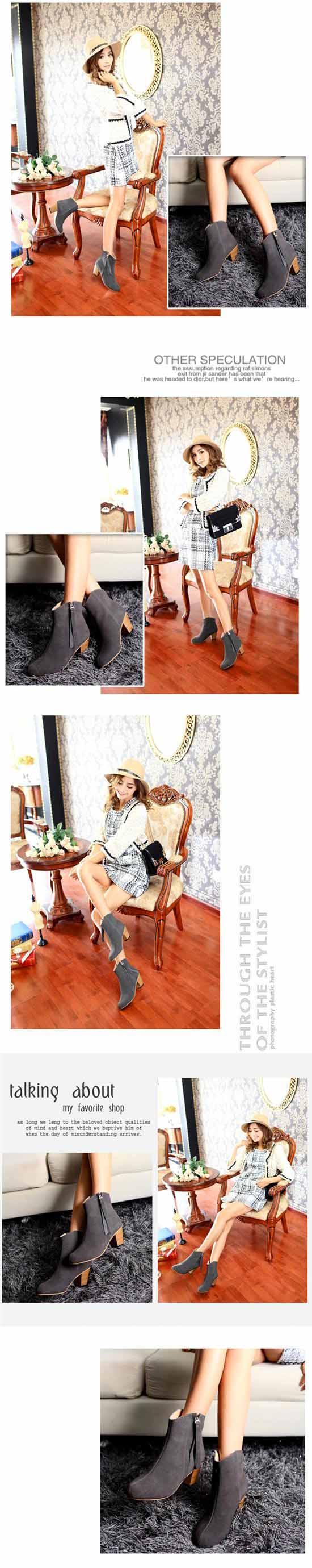 รองเท้าบูท แฟชั่นเกาหลีหุ้มข้อหนังแท้สวย นำเข้า ไซส์34ถึง40 พรีออเดอร์