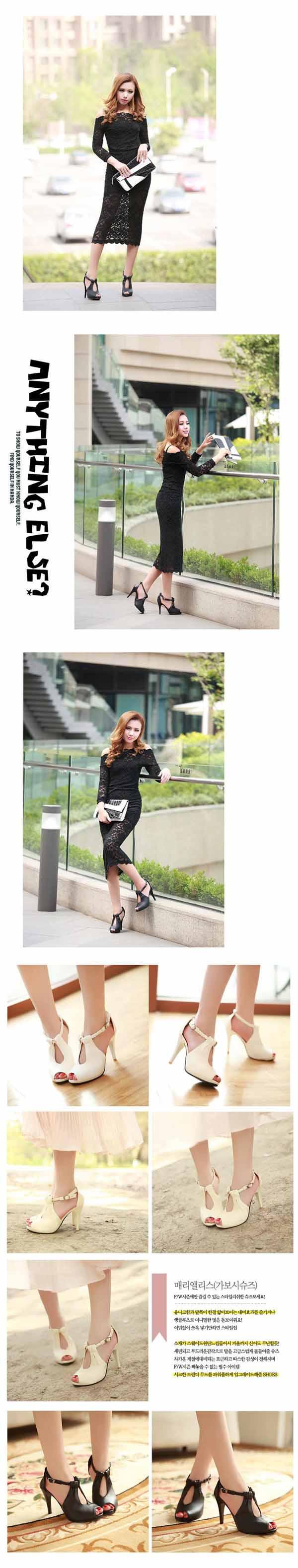 รองเท้าส้นสูง ใส่ทำงานสายถักเปียสวยแฟชั่นเกาหลี นำเข้า
