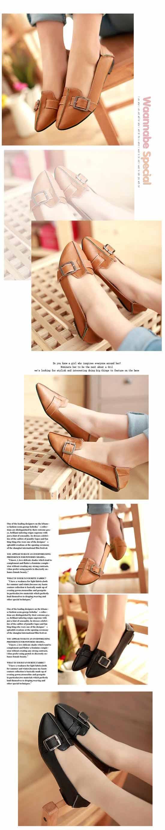 รองเท้าคัทชู ส้นเตี้ยหนังสวมใส่สบายแฟชั่นเกาหลีใหม่ นำเข้า