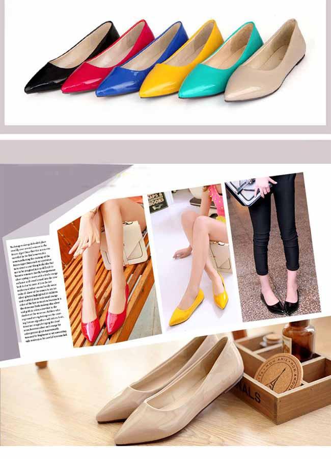 รองเท้าส้นแบน คัทชูหนังแก้วหัวแหลมดาราแฟชั่นเกาหลี นำเข้า พรีออเดอร์RB2171