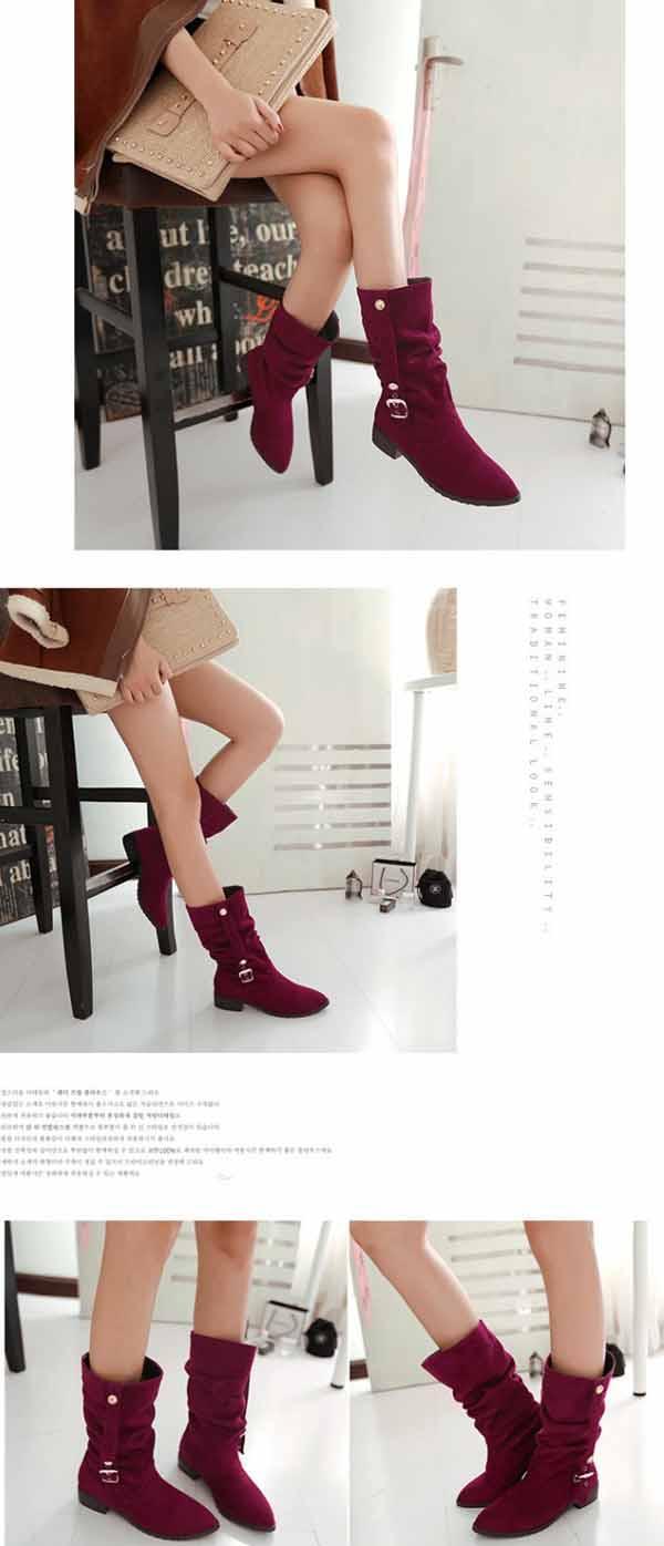 รองเท้าบูทส้นเตี้ย แฟชั่นเกาหลีหนังกลับแต่งหัวเข็มขัดเก๋ นำเข้า ไซส์33ถึง44 สีแดง - พรีออเดอร์RB2245 ราคา1850บาท