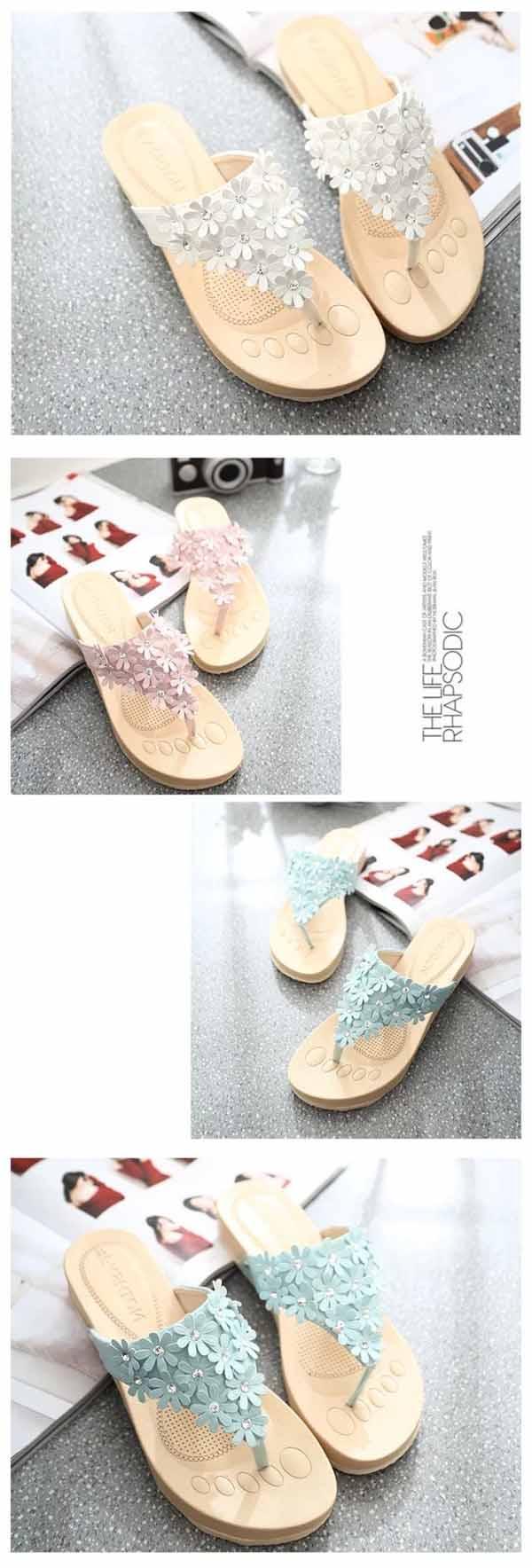 รองเท้าแตะหูคีบ แฟชั่นเกาหลีส้นหนาแบบหนีบแต่งดอกไม้น่ารักมาก นำเข้า ไซส์35ถึง39 สีขาว/ฟ้า/ชมพู - พรีออเดอร์RB2252 ราคา1200บาท