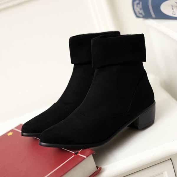 รองเท้าบูทส้นเตี้ย หุ้มข้อหนังกลับขนเฟอร์ด้านในแฟชั่นเกาหลีสวย นำเข้า ไซส์34ถึง43 สีดำ - พรีออเดอร์RB2253 ราคา1990บาท