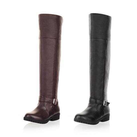 รองเท้าบูทยาว ปิดหัวเข่าส้นเตี้ยแฟชั่นเกาหลีอบอุ่นมีไซส์ใหญ่ นำเข้า ไซส์34ถึง40 สีดำ - พรีออเดอร์RB2254 ราคา1850บาท