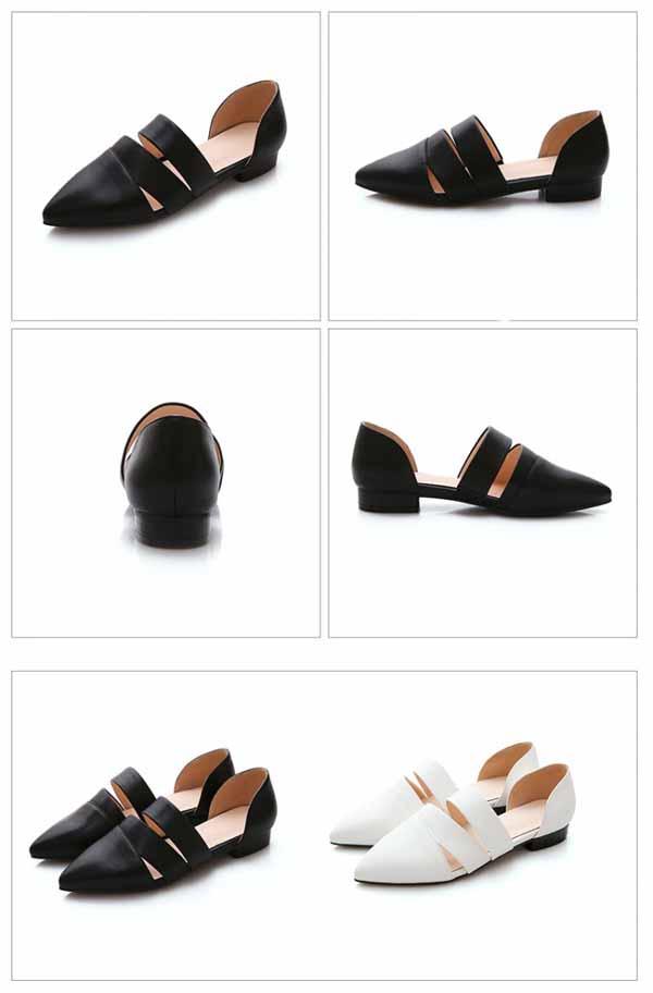 รองเท้าส้นเตี้ย หัวแหลมแฟชั่นเกาหลีดีไซน์สวยเซ็กซี่อินเทรนด์ นำเข้า ไซส์34ถึง39 สีขาวดำ - พรีออเดอร์RB2260 ราคา1750บาท