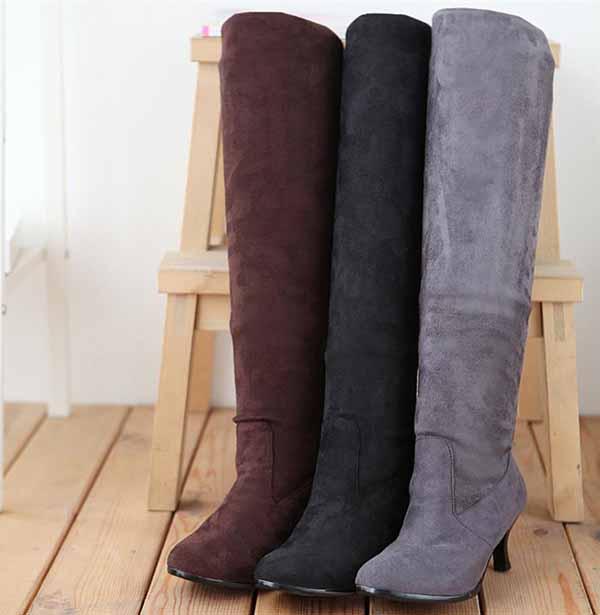 รองเท้าบูทยาว หนังกลับส้นสูงแฟชั่นเกาหลี นำเข้า ไซส์34ถึง43 - พรีออเดอร์RB2264 ราคา1650บาท