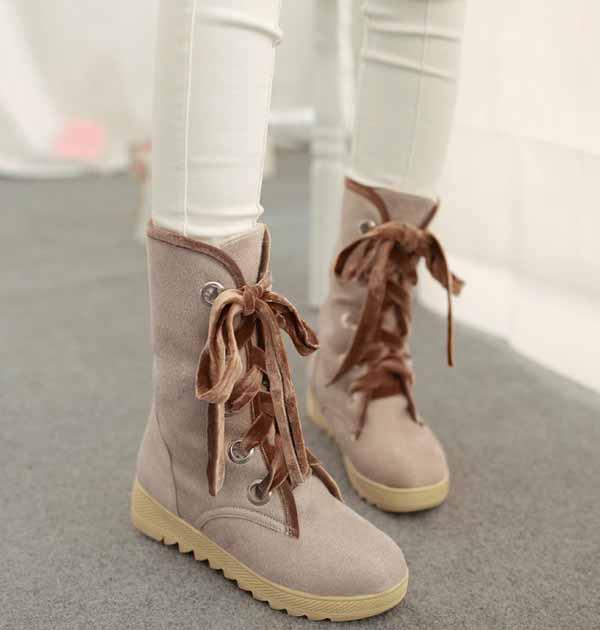 รองเท้าบูทส้นเตี้ย กันหนาวแฟชั่นเกาหลีด้านในบุขนนุ่มเท้า นำเข้า ไซส์34ถึง39 สีเบจ - พรีออเดอร์RB2265 ราคา1650บาท